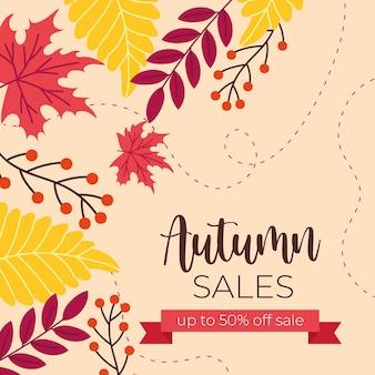 Banner de venda outono com texto e moldura de fita rosa