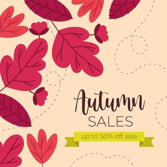 Banner de venda outono com texto e moldura de fita verde