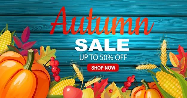 Banner de venda outono com vegetais sazonais.
