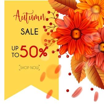 Banner de venda outono conjunto com folhas e flores