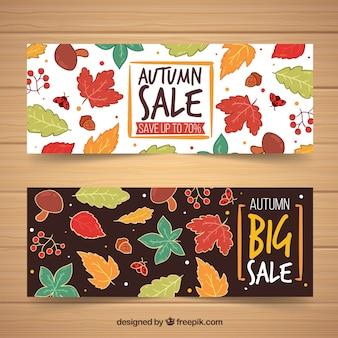 Banner de venda outono conjunto com folhas