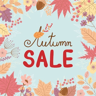 Banner de venda outono em folhas cair design de plano de fundo