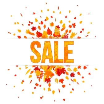 Banner de venda outono. explosão de folhagem no fundo branco. ilustração vetorial