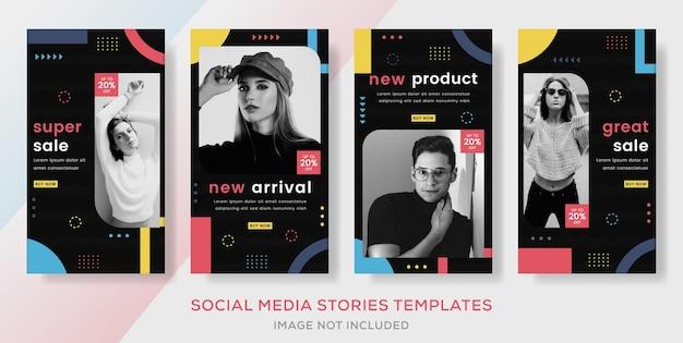 Banner de venda para negócios postagem de modelo de histórias de moda