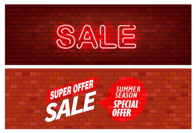 Banner de venda, parede de bick com conjunto de inscrição de venda