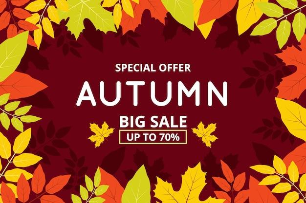 Banner de venda plana de outono