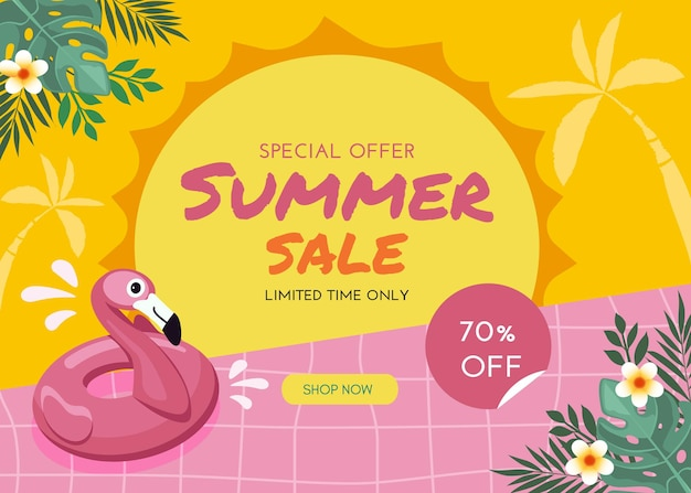 Banner de venda plana de verão com flamingo e flores tropicais