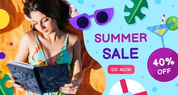 Banner de venda plana de verão com foto