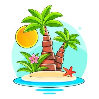 Banner de venda, pôster. fundo de verão da selva floral de vetor lindo com flamingo rosa, flores tropicais, folhas de palmeira, hibisco, flor ave do paraíso