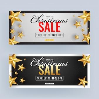 Banner de venda preto e branco com estrelas douradas