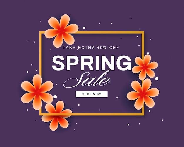 Banner de venda primavera colorida com lindas flores