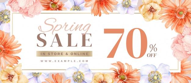 Banner de venda primavera com decoração floral desenhados à mão