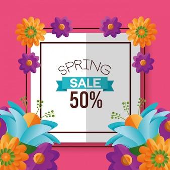 Banner de venda primavera com flores, desconto de 50%