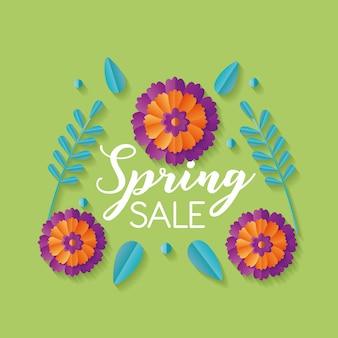 Banner de venda primavera com flores