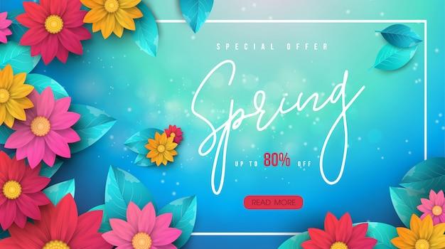 Banner de venda primavera com folhas e flores coloridas
