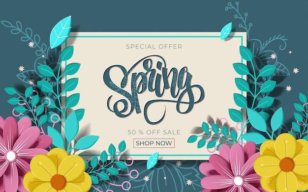 Banner de venda primavera com linda flor colorida.