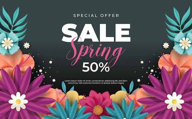 Banner de venda primavera com lindas flores