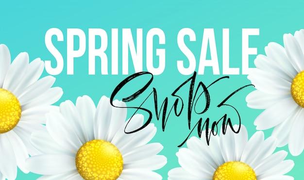 Banner de venda primavera com margarida flores. desconto sazonal.