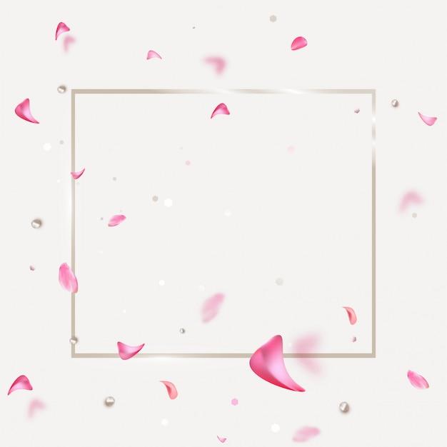 Banner de venda primavera com pétalas de rosa a voar.