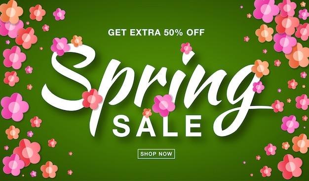 Banner de venda primavera com texto tipográfico letras caligráficas em verde brilhante