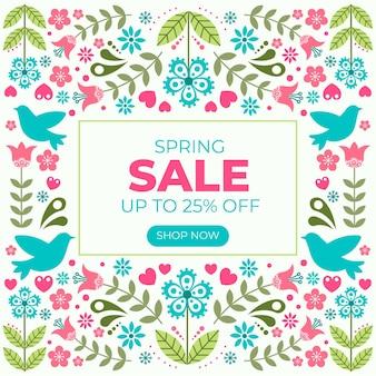 Banner de venda primavera design plano com flores
