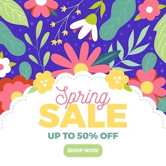 Banner de venda primavera em design plano