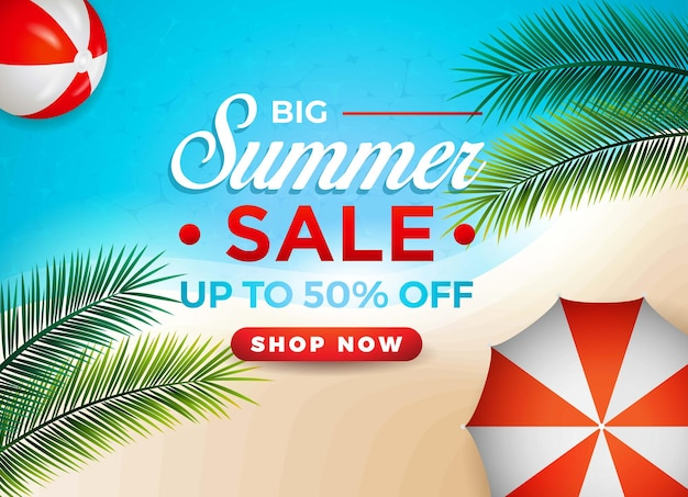 Banner de venda quente de verão com bola de guarda-chuva de palm beach
