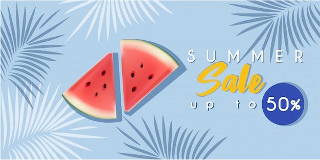 Banner de venda quente de verão com melancia