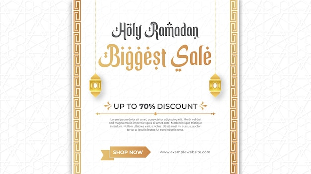 Banner de venda ramadan kareem com moldura de ornamento decorativo de luxo elegante