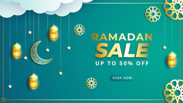 Banner de venda ramadan kareem com ornamento de ilustração islâmica