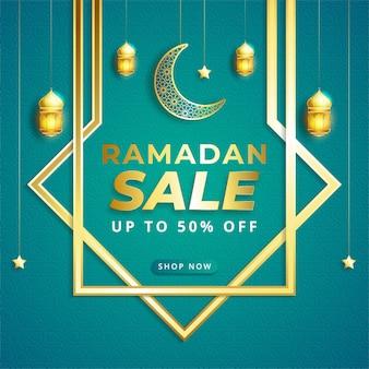 Banner de venda ramadan kareem com ornamento de ilustração islâmica Vetor Premium