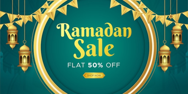 Banner de venda ramadan kareem design de cabeçalho da web com modelo de lanternas intrincadas penduradas