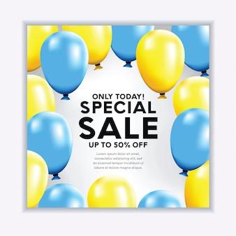 Banner de venda realista com balões