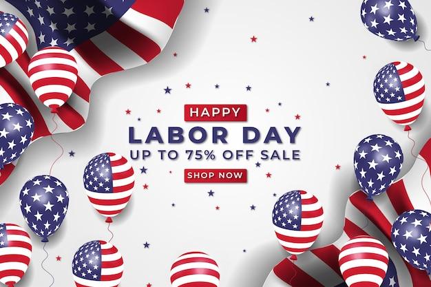 Banner de venda realista do dia do trabalho com balões e bandeira americana premium vector