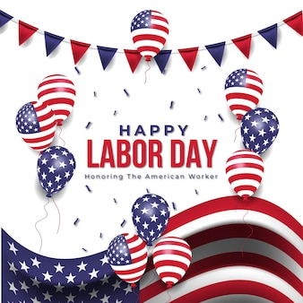 Banner de venda realista do dia do trabalho com balões e bandeira americana. vetor premium