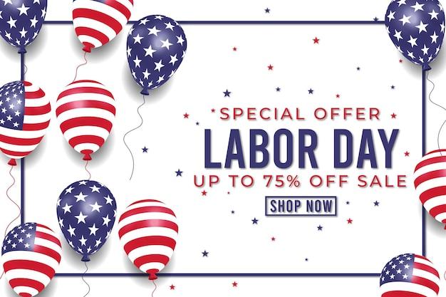 Banner de venda realista do dia do trabalho com bandeira de balões americanos. vetor premium