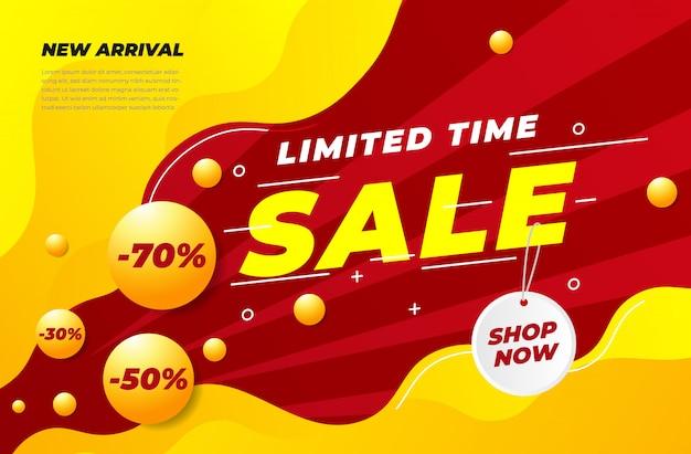 Banner de venda realista moderna com desconto múltiplo