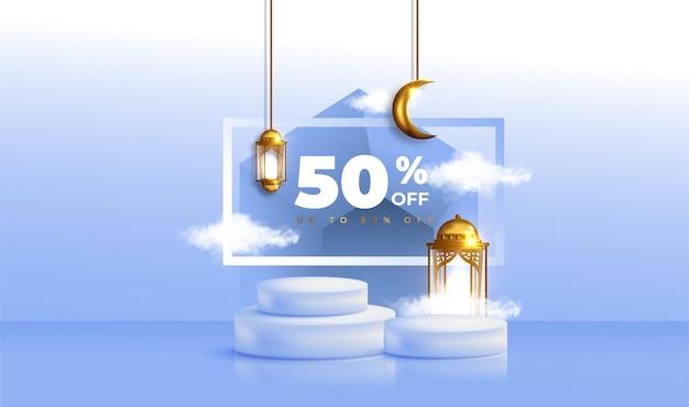 Banner de venda realista ramadan kareem com pódio 3d e moldura de desconto