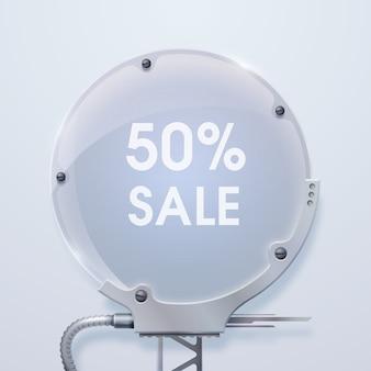 Banner de venda redondo moderno com palavras venda de quinze por cento na placa hexagonal de metal