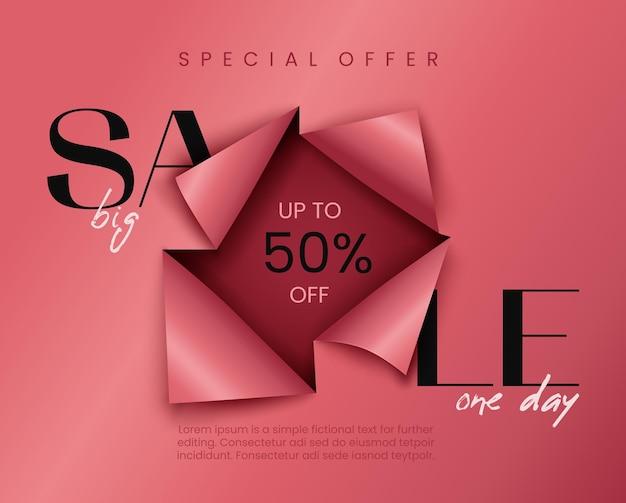Banner de venda rosa com efeito de papel cortado. modelo de plano de fundo de publicidade.