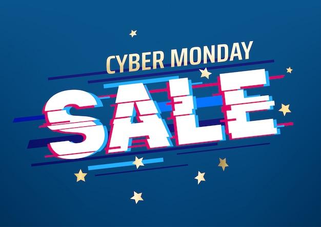 Banner de venda segunda-feira cyber. conceito de oferta de temporada