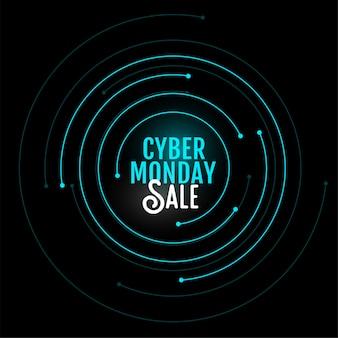 Banner de venda segunda-feira cyber no design de estilo circular