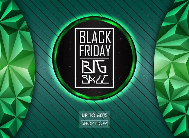 Banner de venda sexta-feira negra com fundo abstrato verde