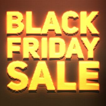 Banner de venda sexta-feira negra com pontos brilhantes como sinal de néon.