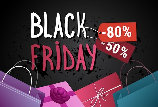 Banner de venda sexta-feira negra com sacos de compras e caixas de presentes no conceito de poster de férias de fundo grunge