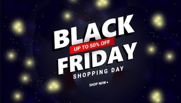 Banner de venda sexta-feira negra com texto de desconto e confetes para ofertas de desconto sazonal. ilustração com confete e serpentina.