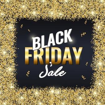 Banner de venda sexta-feira negra dourada com brilhos dourados brilhantes no escuro