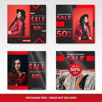 Banner de venda sexta-feira negra para o modelo do instagram
