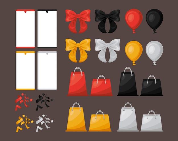 Banner de venda sexta-feira preta com conjunto de ícones