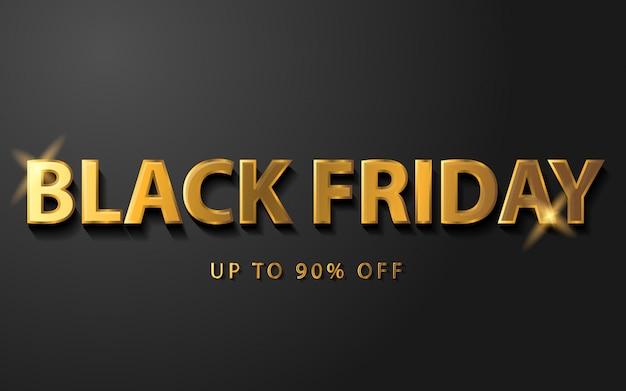 Banner de venda sexta-feira preta com cor dourada